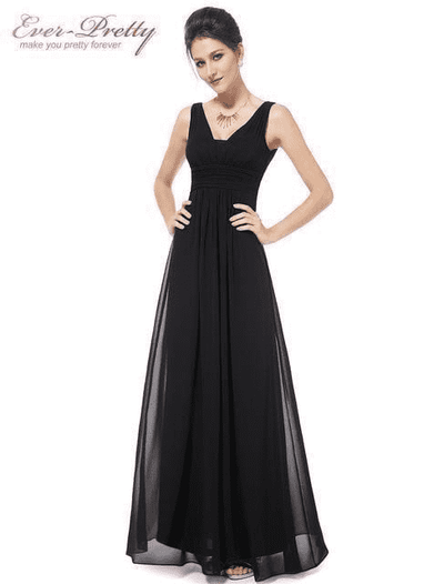 Elegant Deep V-Neck Ruched Bust Evening Dress Black / 4 Evening Dresses