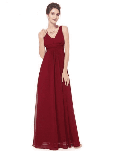 Elegant Deep V-Neck Ruched Bust Evening Dress Burgundy / 4 Evening Dresses