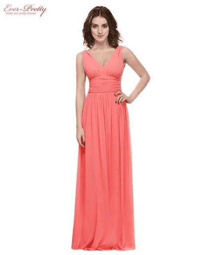 Elegant Deep V-Neck Ruched Bust Evening Dress Coral / 4 Evening Dresses