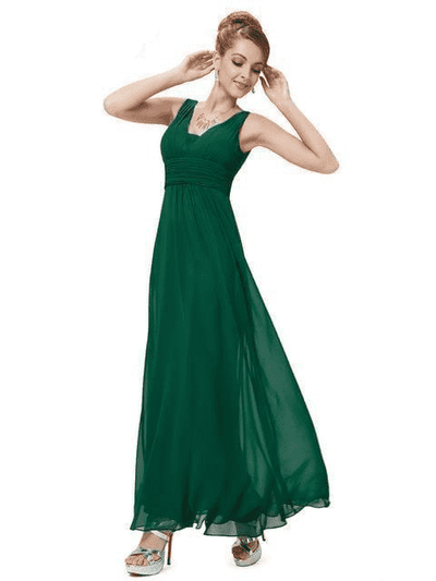 Elegant Deep V-Neck Ruched Bust Evening Dress Dark Green / 4 Evening Dresses