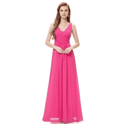 Elegant Deep V-Neck Ruched Bust Evening Dress Hot Pink / 4 Evening Dresses