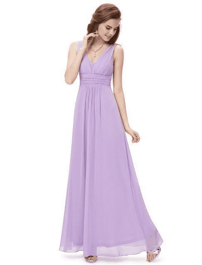 Elegant Deep V-Neck Ruched Bust Evening Dress Light Purple / 4 Evening Dresses