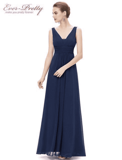 Elegant Deep V-Neck Ruched Bust Evening Dress Navy Blue / 4 Evening Dresses