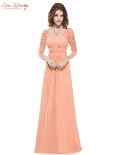 Elegant Deep V-Neck Ruched Bust Evening Dress Peach / 4 Evening Dresses