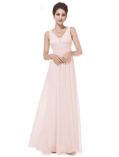 Elegant Deep V-Neck Ruched Bust Evening Dress Pink / 4 Evening Dresses