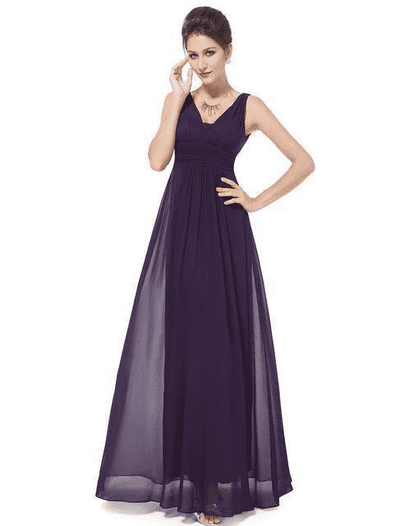 Elegant Deep V-Neck Ruched Bust Evening Dress Deep Purple / 4 Evening Dresses