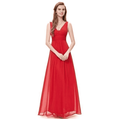 Elegant Deep V-Neck Ruched Bust Evening Dress Red / 4 Evening Dresses
