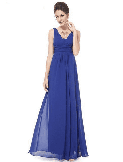 Elegant Deep V-Neck Ruched Bust Evening Dress Sapphire Blue / 4 Evening Dresses