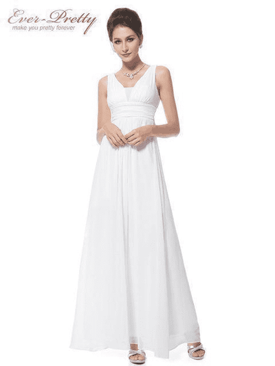 Elegant Deep V-Neck Ruched Bust Evening Dress White / 4 Evening Dresses