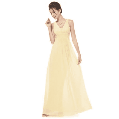 Elegant Deep V-Neck Ruched Bust Evening Dress Yellow / 4 Evening Dresses