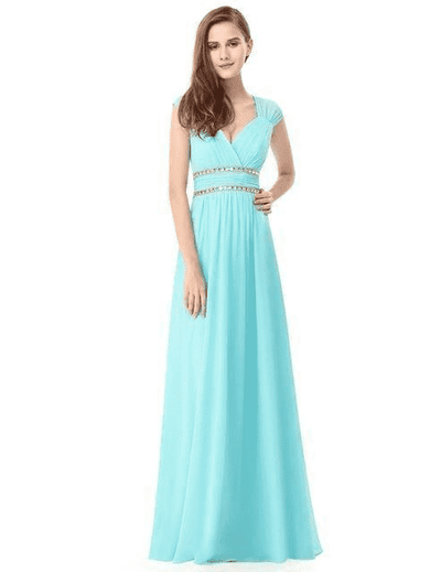 Elegant V-Neck Sleeveless Empire Evening Dress Aqua / 4 / China Evening Dresses