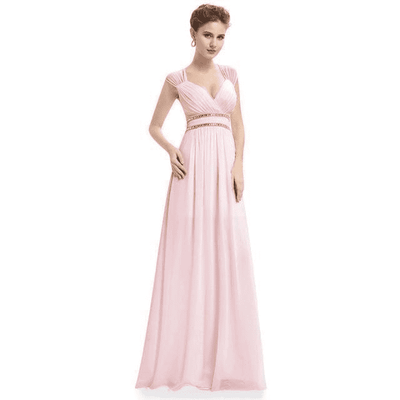 Elegant V-Neck Sleeveless Empire Evening Dress Baby Pink / 4 / China Evening Dresses