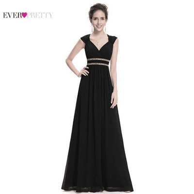 Elegant V-Neck Sleeveless Empire Evening Dress Black / 4 / China Evening Dresses