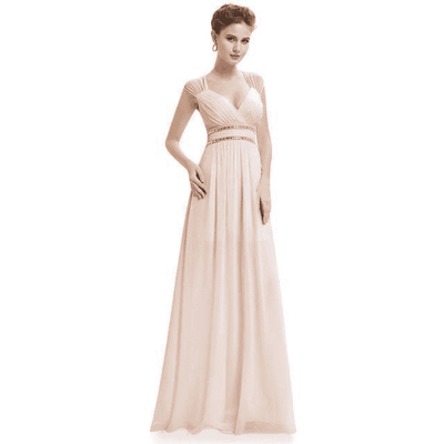 Elegant V-Neck Sleeveless Empire Evening Dress Blush / 4 / China Evening Dresses