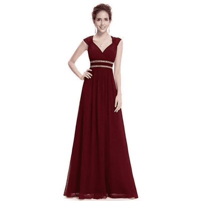 Elegant V-Neck Sleeveless Empire Evening Dress Burgundy / 4 / China Evening Dresses