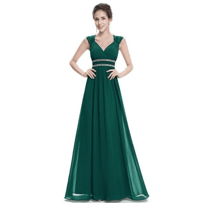 Elegant V-Neck Sleeveless Empire Evening Dress Dark Green / 4 / China Evening Dresses
