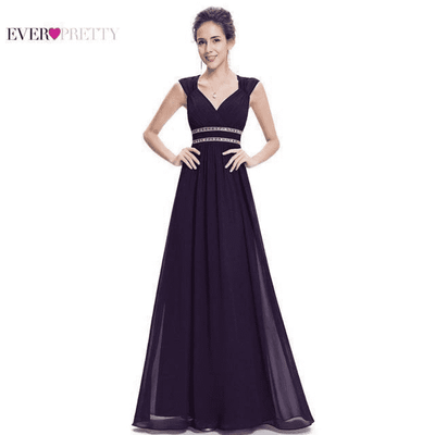 Elegant V-Neck Sleeveless Empire Evening Dress Dark Purple / 4 / China Evening Dresses