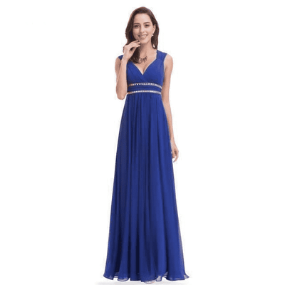 Elegant V-Neck Sleeveless Empire Evening Dress Evening Dresses