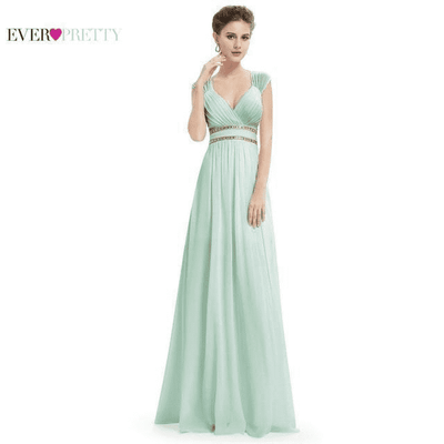 Elegant V-Neck Sleeveless Empire Evening Dress Mint Green / 4 / China Evening Dresses