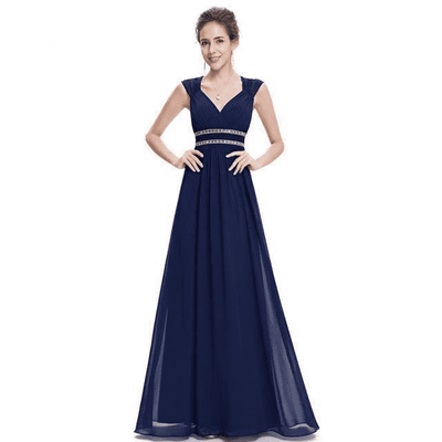 Elegant V-Neck Sleeveless Empire Evening Dress Navy Blue / 4 / China Evening Dresses