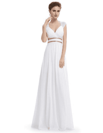 Elegant V-Neck Sleeveless Empire Evening Dress White / 4 / China Evening Dresses