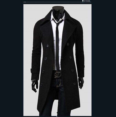European Style Double Breasted Coat Black / L M.trench