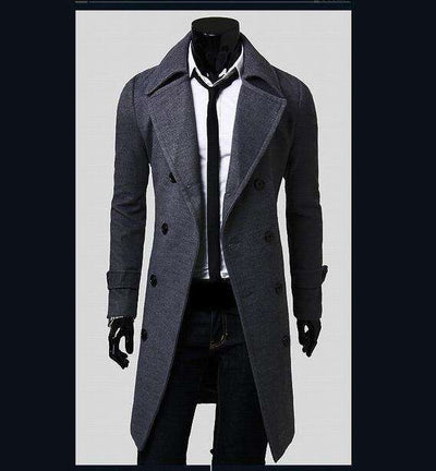 European Style Double Breasted Coat Gray / L M.trench