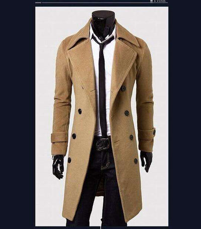 European Style Double Breasted Coat Khaki / L M.trench