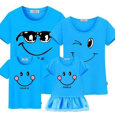 Family Matching Clothes Mother Daughter Dresses Son Blue / Female 160