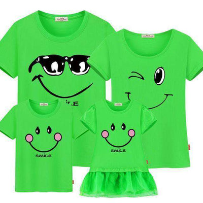 Family Matching Clothes Mother Daughter Dresses Son Fruit Green / Female 160