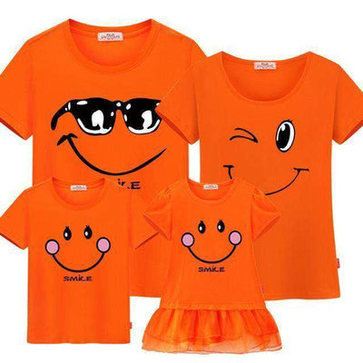 Family Matching Clothes Mother Daughter Dresses Son Orange / Female 160