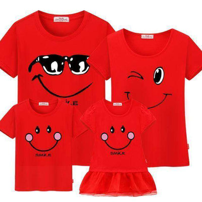 Family Matching Clothes Mother Daughter Dresses Son Red / Female 160