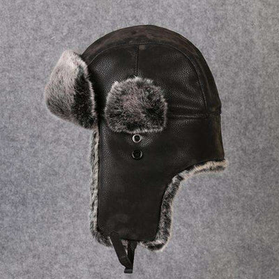 Faux Fur Trapper Hat Pu Leather With Earflap Black / L Hats