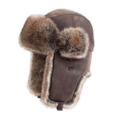 Faux Fur Trapper Hat Pu Leather With Earflap Brown / L Hats