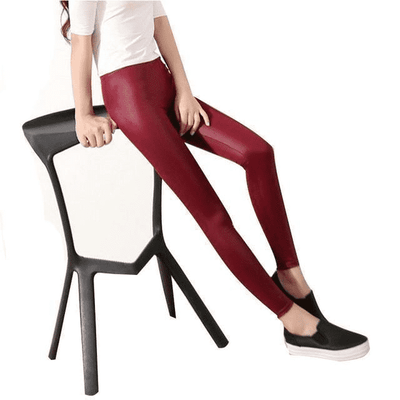 Faux Leather Leggings Burgundy / L Leggings