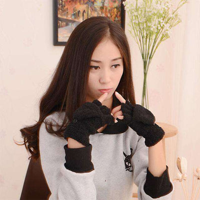 Fingerless Winter Fall Hand Wrist Gloves Black Gloves