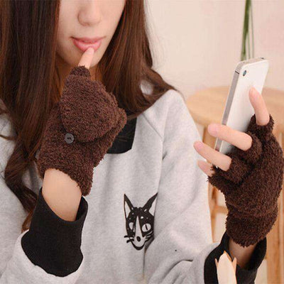 Fingerless Winter Fall Hand Wrist Gloves Coffee Gloves