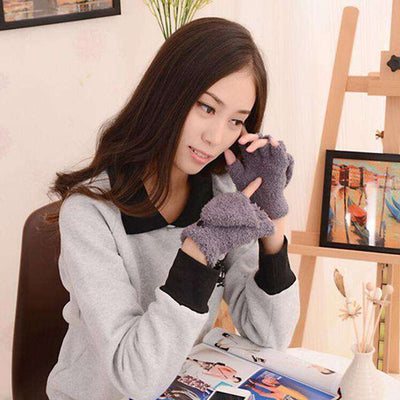 Fingerless Winter Fall Hand Wrist Gloves Gray Gloves