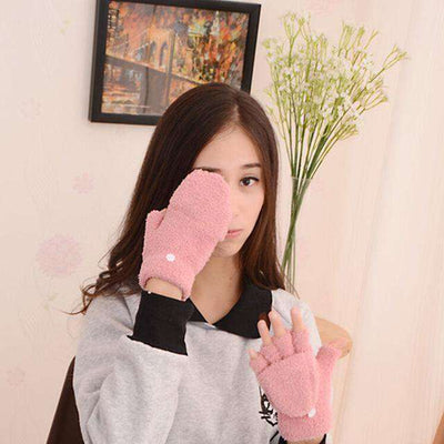 Fingerless Winter Fall Hand Wrist Gloves Pink Gloves