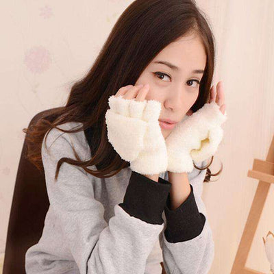 Fingerless Winter Fall Hand Wrist Gloves White Gloves