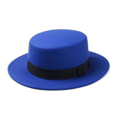 Flat Dome Oval Top Bowler Sun Hat Blue Fedoras