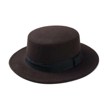 Flat Dome Oval Top Bowler Sun Hat Coffee Fedoras