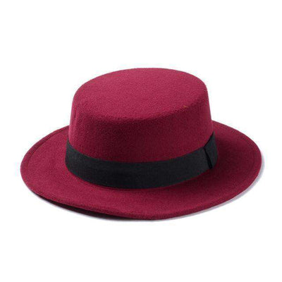 Flat Dome Oval Top Bowler Sun Hat Wine Red Fedoras
