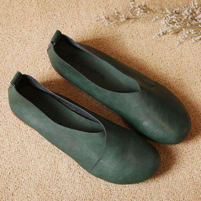 Flat Shoes Woman Hand-Sewn Leather Loafers