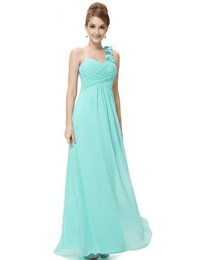 Flower One Shoulder Chiffon Padded Long Dress Aqua / 4 Bridesmaid Dresses