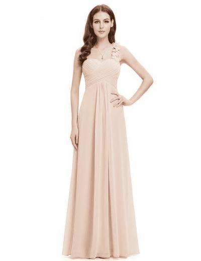 Flower One Shoulder Chiffon Padded Long Dress Blush / 4 Bridesmaid Dresses