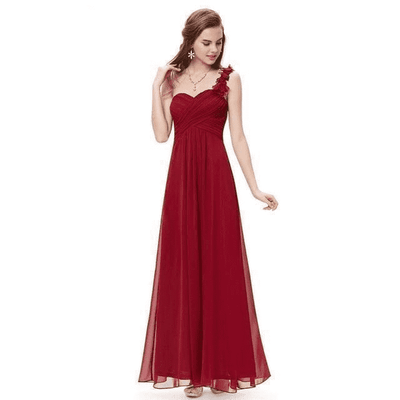 Flower One Shoulder Chiffon Padded Long Dress Burgundy / 4 Bridesmaid Dresses