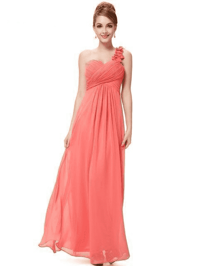 Flower One Shoulder Chiffon Padded Long Dress Coral / 4 Bridesmaid Dresses