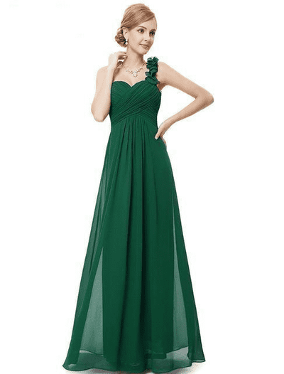 Flower One Shoulder Chiffon Padded Long Dress Dark Green / 4 Bridesmaid Dresses