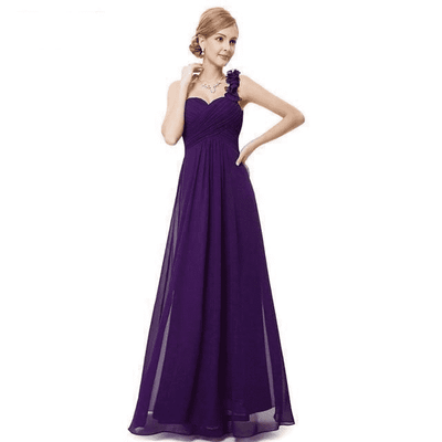 Flower One Shoulder Chiffon Padded Long Dress Dark Purple / 4 Bridesmaid Dresses
